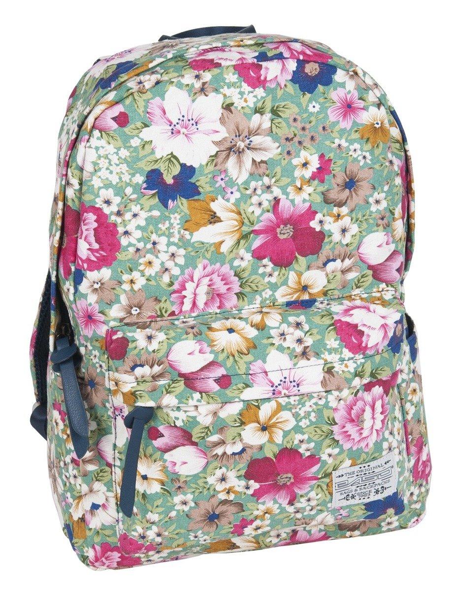 c13876b078fc6 ... PASO Lekki Plecak Szkolny Młodzieżowy 17-223D Turkusowy Kwiaty ...