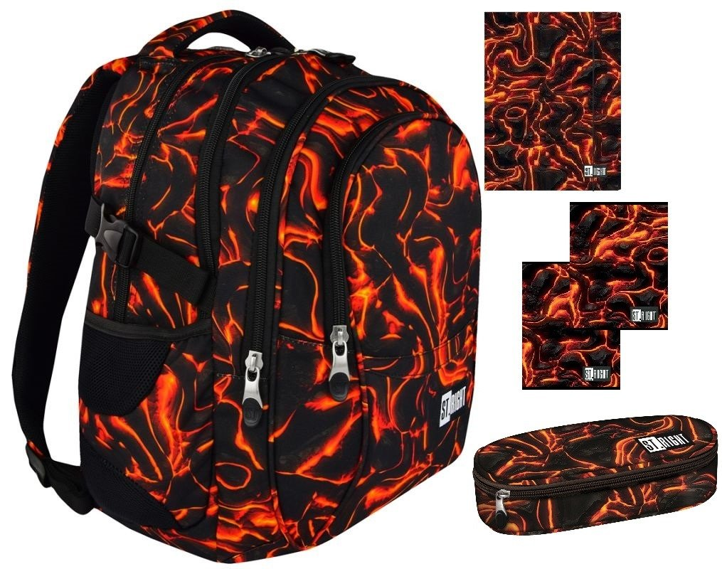 85163d8b9a283 Zestaw Szkolny Plecak Piórnik Akcesoria ST.RIGHT BP-01 Lava ...
